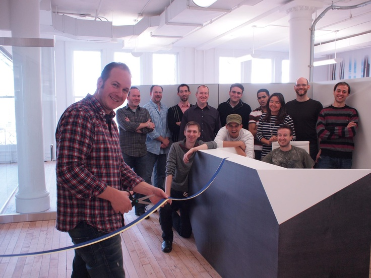 Cutting the ribbon! Grand opening of Avalanche Studios' New York office in Soho.