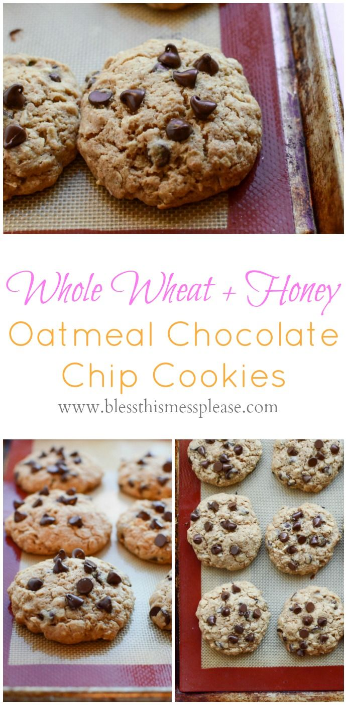 Oatmeal Chocolate Chip Cookies with honey and whole wheat flour my favorite healthy dessert recipe