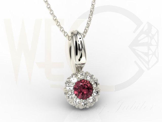 Wisiorek z białego złota z rubinem i cyrkoniami / Pendant made from white gold with a rubin and zircons / 399 PLN #gold #pendant #heart #fashion #jewellery #jewelry #mother_day
