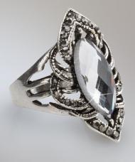 Gyűrű szürke kristályokkal és antikolt fémmel, 19 mm