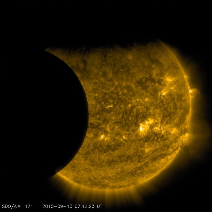 Double solar eclipse from space - The moon is to the left, the Earth is at the top