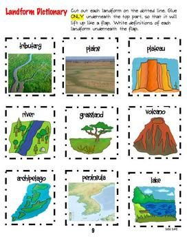 Geography Interactive Notebook Fun This looks interesting. The directions say to cut out each part and glue only the top so that students can write underneath the flap. We could use this when we introduce earth's structures/U.S. regions. Students could maybe categorize these based on what is found in U.S. and where. For example, volcanoes are found in Hawaii.
