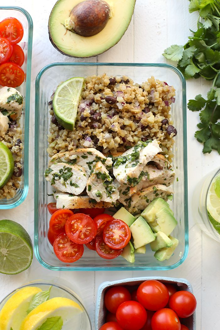 Meal-Prep Cilantro Lime Chicken with Cauliflower Rice: Get your meal-prep on with this healthy cilantro lime chicken served next to a delicious cauliflower rice!