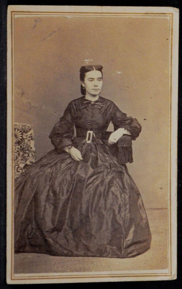 CDV Photo Woman Hoop Skirt Dress Civil War Tax Stamp Judkins Rollins Lawrence MA