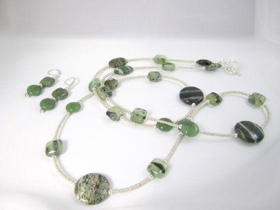 Lange groene en zilver ketting oorbel Set Quartz door bohosoulsister