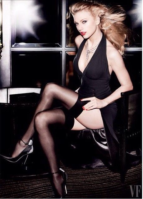Raunchy Black Dress.  Picture been photographically enhanced(Vanity Fair).  Not the same as when we can see her beauty naturally.  Still great pic though!