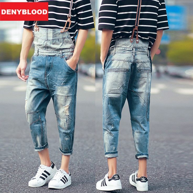(69.95$)  Buy here - http://ai21w.worlditems.win/all/product.php?id=32796561683 - Mens Distressed Jeans Ripped Jumpsuit Denim Overalls Men Patchwork Baggy Cargo Pants with Suspenders Denim Bib for Men 100-99