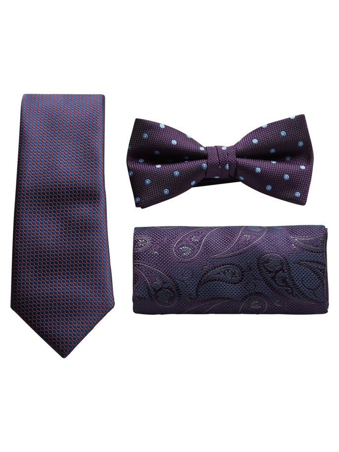 Need to give him a gift? Check this suit gift set: tie, bow tie and pocket square  for a tailored look | JACK & JONES #purple #plum #ties #bowtie #gift #ideas #men