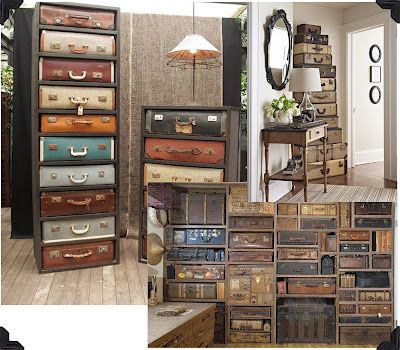 Check out these suitcases!  They are used like storage cubbies...too cute!