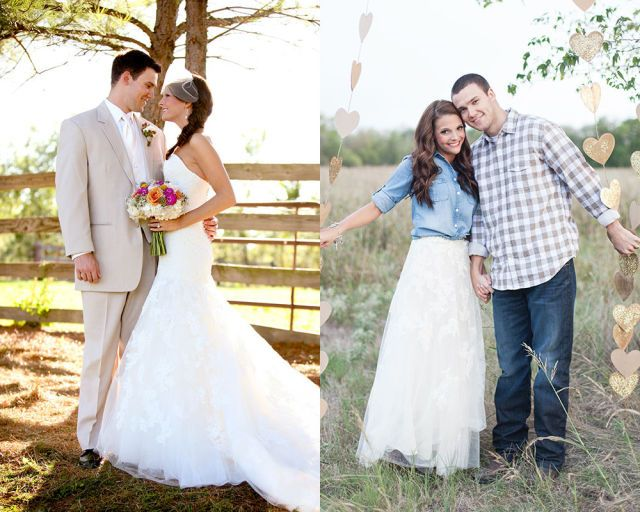 Christina D. paired the tulle skirt of her gown with a casual chambray shirt for her wedding anniversary photo shoot.