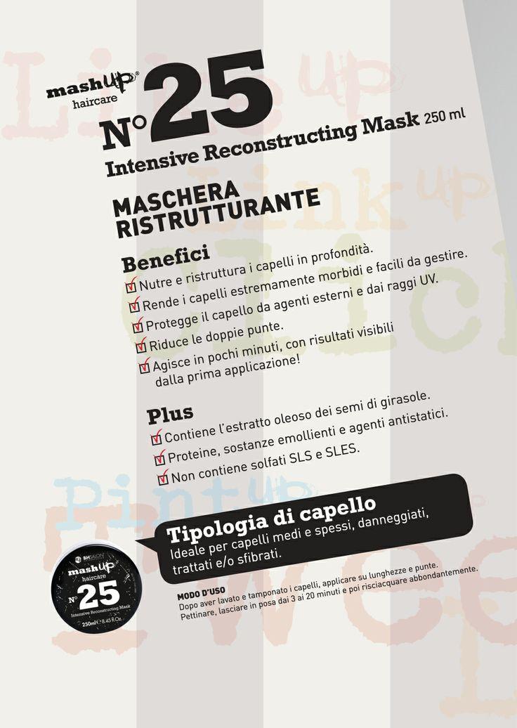 Mashup Haircare N.25 Maschera ristrutturante. Ideale per capelli medi/spessi, danneggiati, trattati e sfibrati.
