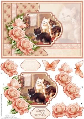 VINTAGE KITTENS BY FIRESIDE Card Topper Decoupage on Craftsuprint designed by Janet Briggs - Cats / kittens card topper, with 3d step by step rose decoupage.Features a lovely vintage image of kittens by the fireside, with roses and butterfly embellishments2 sentiment tags, one blank and Happy BirthdayNOTE A coordinating insert is available. See multilink below. - Now available for download!