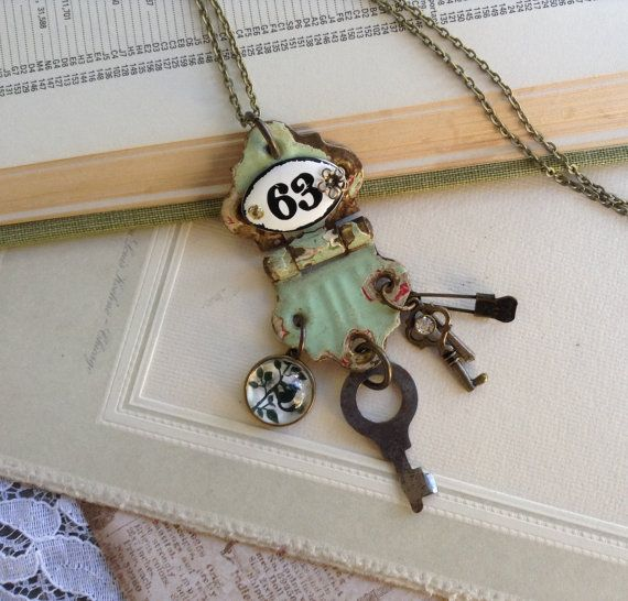 Assemblage Necklace Found Object Jewelry by TropigirlsTreasures