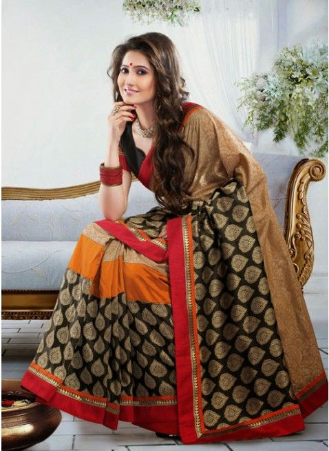 Chic Beige & Black Embroidered Color Art Silk Based Embroidered #Saree #clothing #fashion #womenwear #womenapparel #ethnicwear
