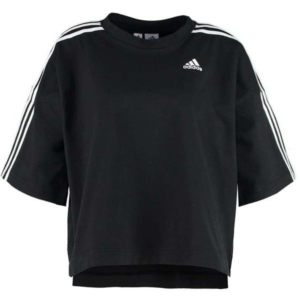 adidas Performance T-shirt ❤ liked on Polyvore featuring tops, t-shirts, adidas t shirt, black white top, adidas, adidas tee and black and white t shirt
