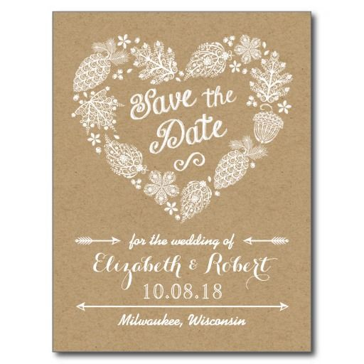 lacy leaves fall in love save the date postcard weddings