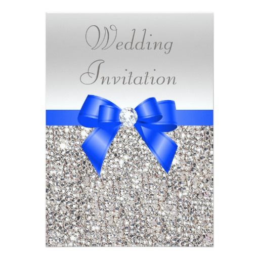 Silver Sequins Royal Blue Bow And Diamond Wedding 5x7 Paper Invitation Card