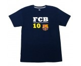 DARK NAVY 100% COTTON TEE, PRINTED IN YELLOW AND WHITE WITH A #10 (LIONEL MESSI'S NUMBER) AND FCB IN BOLD LETTERING AND A BARCELONA FOOTBALL CLUB SHIELD AT CENTER CHEST. FINISHED WITH A CONTRAST NECK COLLAR TAPING. AVAILABLE IN SMALL, MEDIUM, LARGE AND X-LARGE.