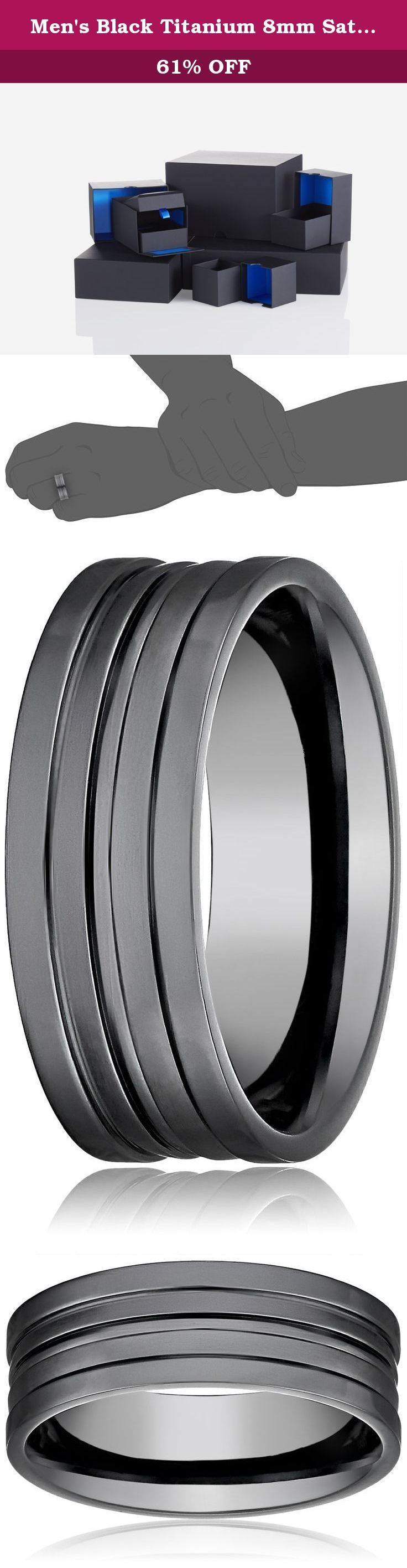 Men's Black Titanium 8mm Satin Finish Comfort Fit Plain Wedding Band with High Polished Center Size 9.5. Match his contemporary style with the Men's Black Titanium 8mm Satin Finish Comfort Fit Wedding Band with High Polished Center. This sleek black titanium design features a satin finish that emphasizes the unique double cut-out center cut. The comfort fit curve inside the ring allows for easy wear throughout the day. Titanium is an excellent choice for anyone with metal sensitivities…