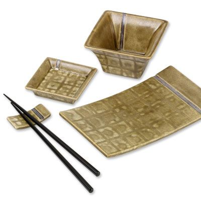 Asian Dinnerware Set: Create an elegant palette for delicate sushi with the Asian Collection bisque and earthy Courtyard Art Glazes, featuring the rubbing alcohol technique