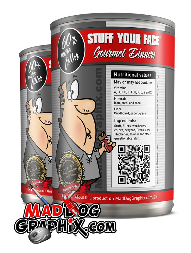 Lets have some fun. Stuff Your Face product with QR code created by Mad Dog Graphix