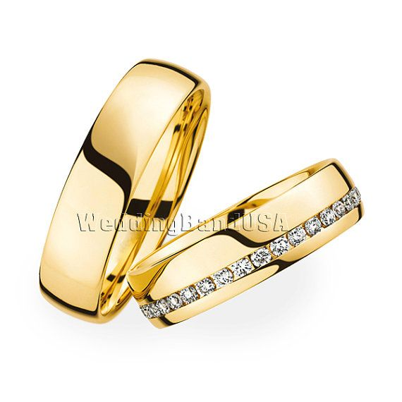 Gold Wedding Band, Man's and Lady's Matching Wedding Bands,Custom Made Wedding Set,Diamond Wedding Band,Free Laser Engraving, Free Gift Box.