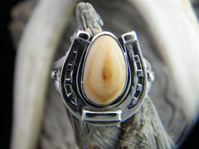 Horseshoe Elk Ivory Ring SIZED TO FIT.