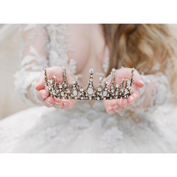 Gold Opal Tiara, Bridal Crown Swarovski Crystal light Blue Bridal... ❤ liked on Polyvore featuring accessories, hair accessories, gold bridal hair accessories, swarovski crystal tiara, gold crown, crown tiara and gold crown tiara