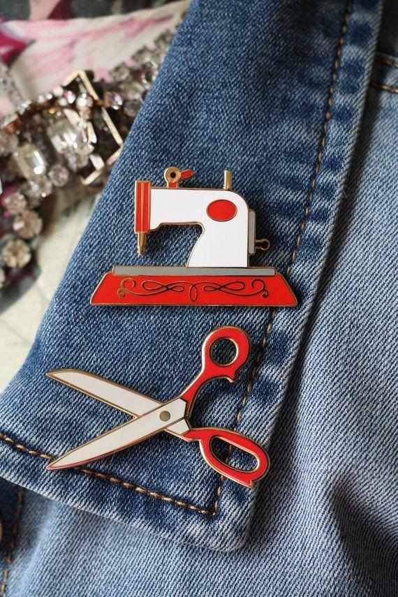 Two red sewing enamel pin, hard enamel pins, cute sewing