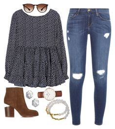 """""""// dots //"""" by jordanawarren ❤ liked on Polyvore featuring Frame Denim, Alexander Wang, Kendra Scott, Electric Picks, Ray-Ban, vintage, women's clothing, women, female and woman"""