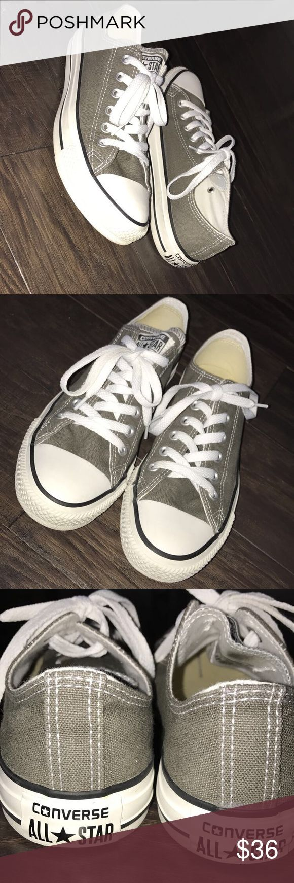 Grey Converse These dark grey sneakers are perfect for any day to day outfit. Plus they were barley worn! Converse Shoes Sneakers