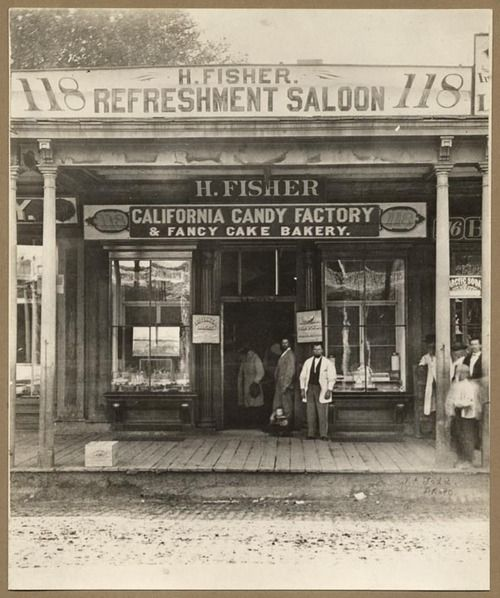 Henry Fisher Refreshment Saloon and California Candy Factory and Fancy Cake Bakery, 118 J St. in Sacramento. (circa 1869)