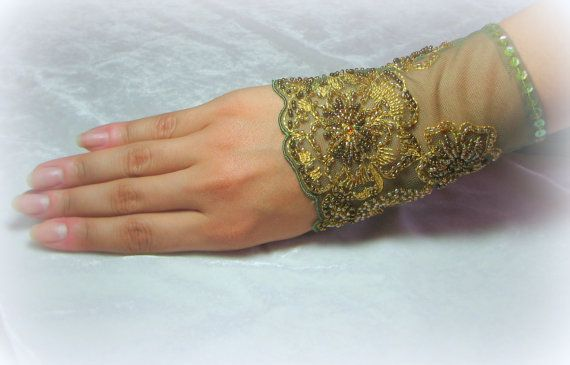 OOAK Hand Beaded Lace Cuff in Olive Green and Gold by YovankaBlack