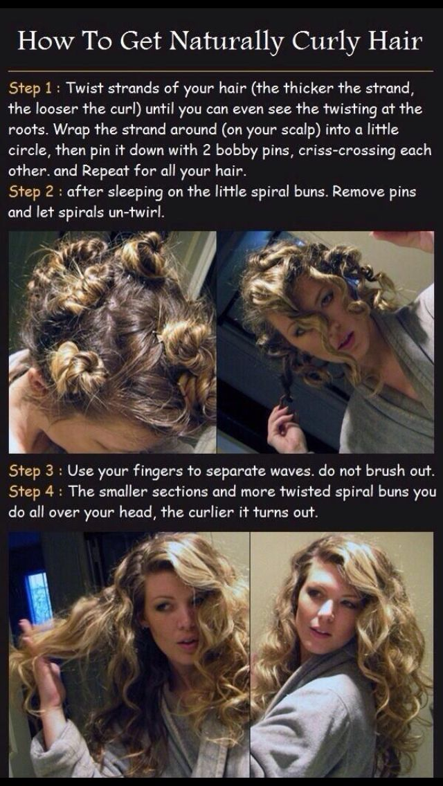 cute no heat curls! This works great! start with dry hair, spritz with a little bit of water or setting spray, twist up, sleep, and voila!