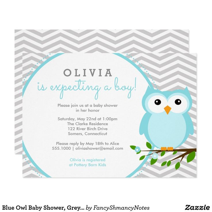"Blue Owl Baby Shower, Grey Chevron Card This adorable baby shower invitation features trendy grey chevron and a sweet blue owl. Fill in your information on the template. Use the ""customize"" feature to change the font and the layout."