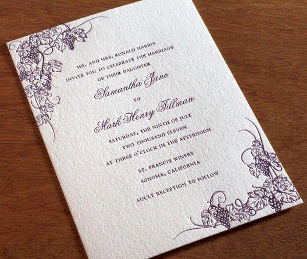 wine country destination wedding at winery invitation with grape vine design