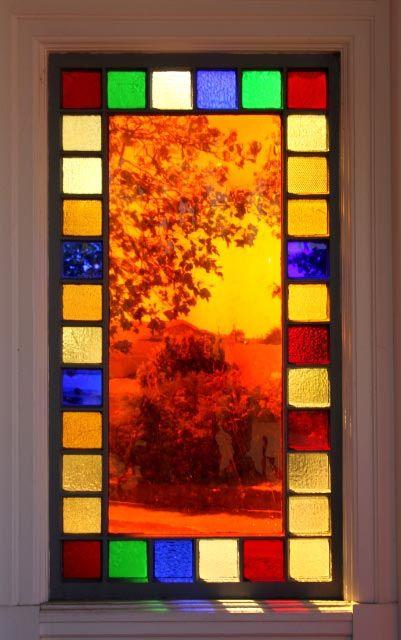 Stained glass window, Eureka, California; photo by .Sandra Westbrooks