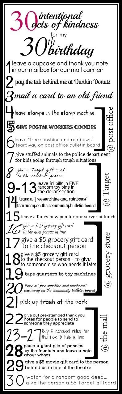 30 intentional acts of kindness on a 30th birthday