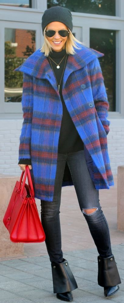 Blue Multi Fluffy Check Coat by What Courtney Wore
