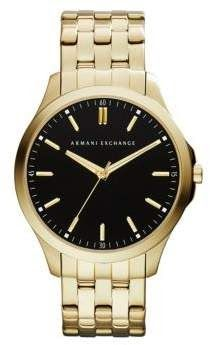 Armani Exchange Mens Yellow Goldtone Bracelet Watch by Armani Exchange  Mens Yellow Goldtone Bracelet Watch;Armani Exchange presents you with this refined timepiece perfect to take you from a casual day off to a professional business lunch with ease. Featuring a sheen Yellow Goldtone case and round bezel a black dial boasts Yellow Goldtone stick markers all around and petite seconds markers. Set with three-hand movements the design is finessed with a polished Yellow Goldtone link bracelet…