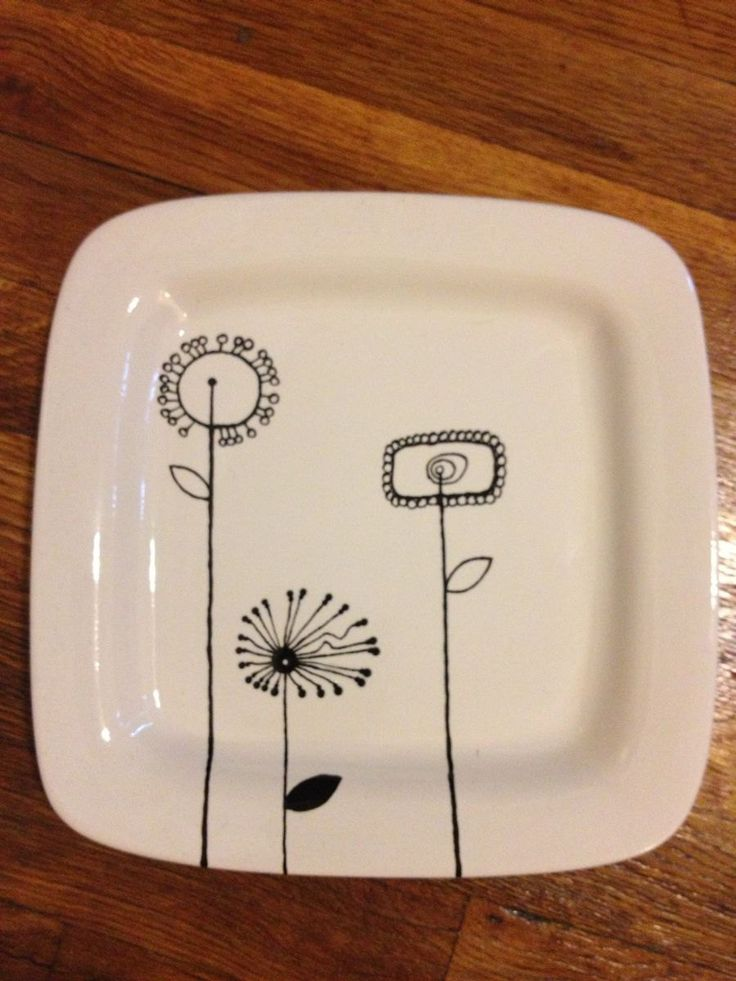"""Hand Painted Pottery - Square dinner plates - 9.0"""" Diameter."""