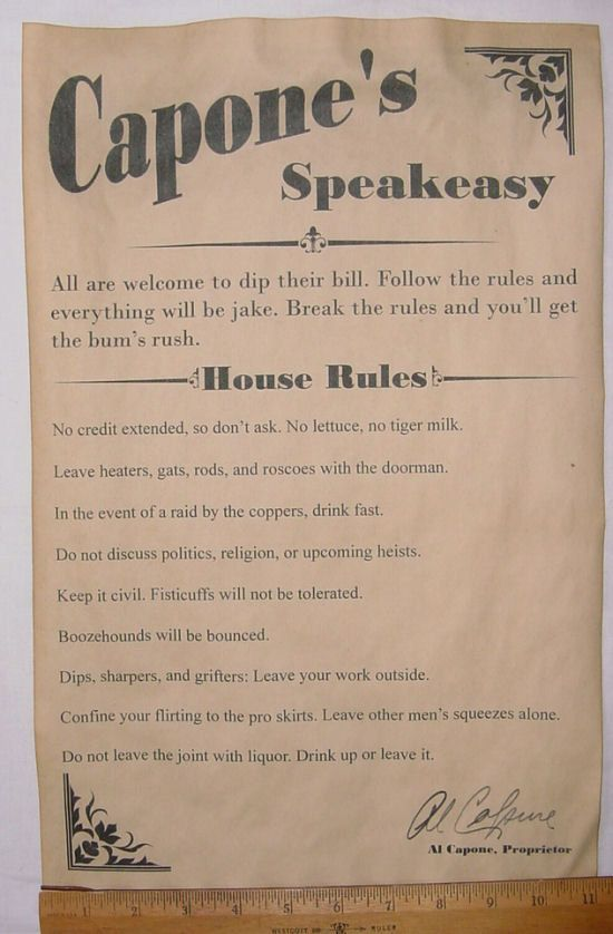 Al Capone's Speakeasy House Rules Poster, 11 x 17, bar ... 1920s Prohibition Party