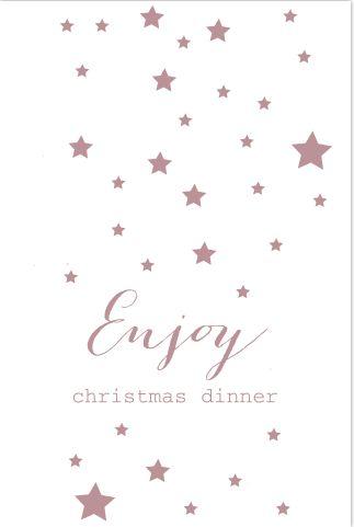 Moderne kerstmenukaart met sterren en bestek icoontjes in donkerroze tint. Enveloppen zijn los bij te bestellen.