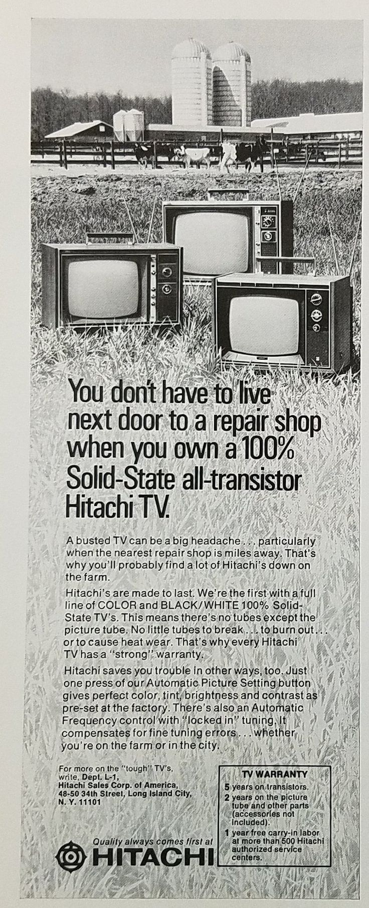 1972 Hitachi Solid State All Transistor Television Vintage Ad - Rural Farm