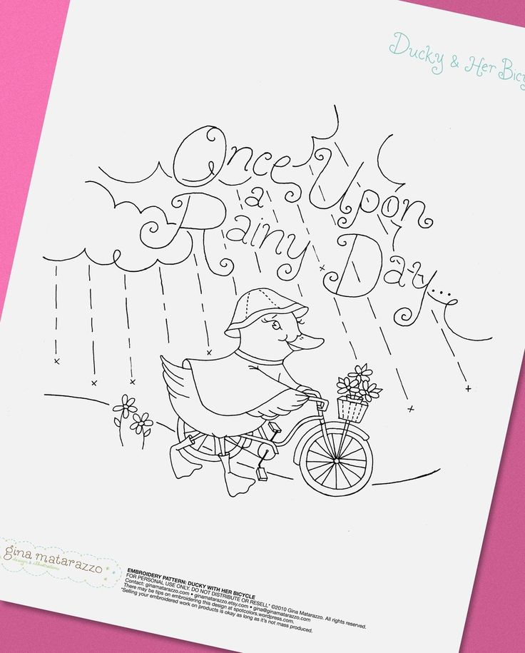 Embroidery Pattern Ducky with Her Bicycle by GinaMatarazzo on Etsy