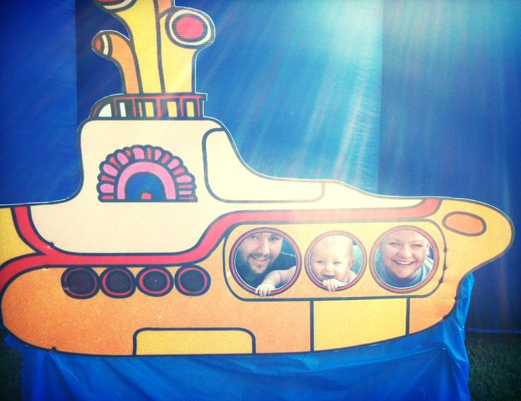 We all live in a yellow submarine...1st birthday party photo prop.