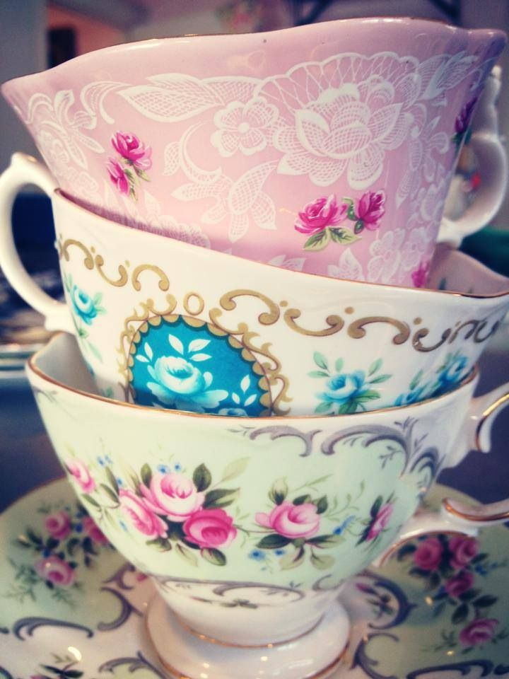 A stack of lovely floral teacups!