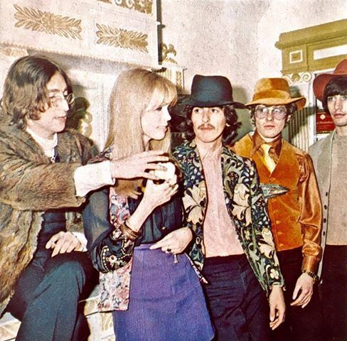 A rare shot of John Lennon a pu bucket bag crossbodynd George Harrison posing with Amanda Lear, John Crittle and Leslie Cavendish at the opening of Apple Tailoring on 23 May 1968. Originally published in the January 1969 issue of TeenSet Photo Credit ; Leslie Cavendish...