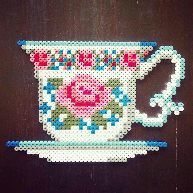 Image result for bubble tea perler beads pattern