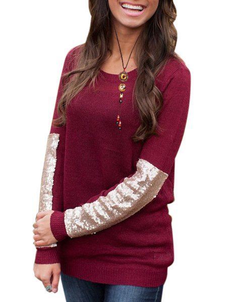 Casual Scoop Neck Sequined Long Sleeve Knitwear Sweater For Women